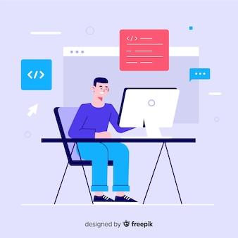 Programista pracujący w stylu płaskiego