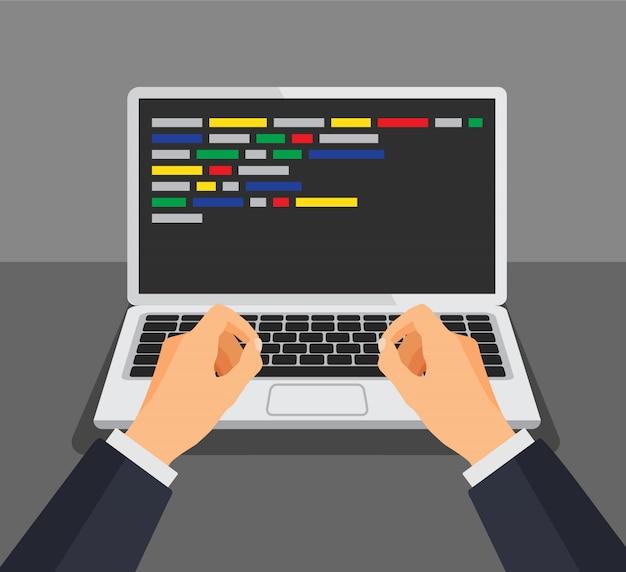 Programista pracuje pisząc kod. człowiek, wpisując na klawiaturze z kodem na ekranie. programista, projekt, programowanie. koncepcja kodowania. ilustracja na białym tle.