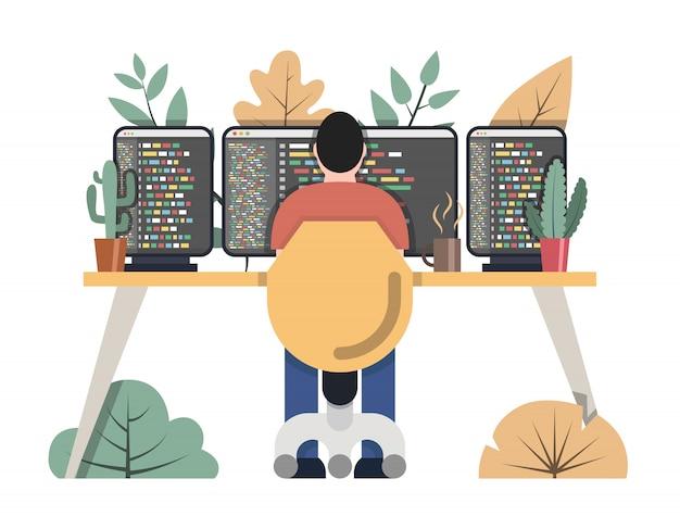 Programista w pracy. koncepcja biura obszaru roboczego