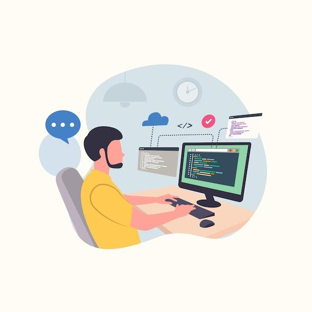 Programista wpisujący kod danych na komputerze do tworzenia oprogramowania software