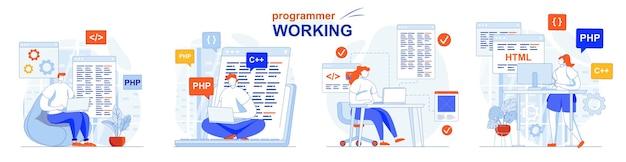 Programista zestaw koncepcji pracy tworzenie oprogramowania testowanie programowania kodu