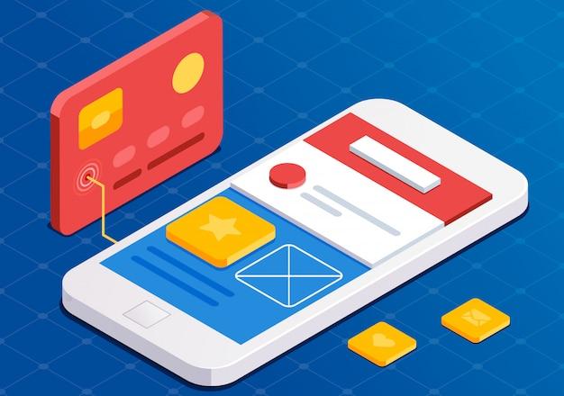 Programowanie aplikacji mobilnych, płaski 3d izometryczny styl. niebieskie projektowanie stron internetowych. aplikacja dla programistów. praca przy uruchomieniu.