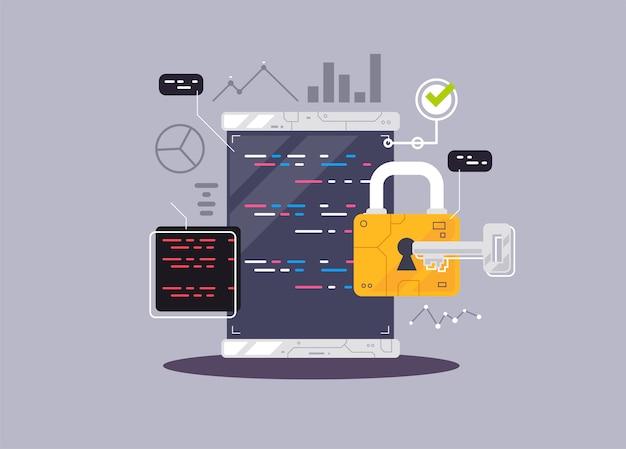 Programowanie banner, kodowanie, najlepsze języki programowania, płaski ilustracja koncepcja