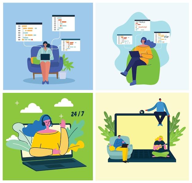 Programowanie i kodowanie koncepcji ilustracji rozwoju strony internetowej