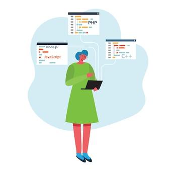 Programowanie i kodowanie, tworzenie stron internetowych, projektowanie stron internetowych. płaski styl.