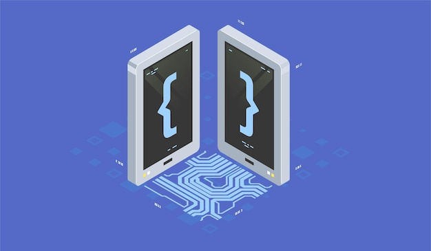 Programowanie i programowanie ikony izometrycznej, sztuczna inteligencja zautomatyzował proces przetwarzania dużych zbiorów danych.