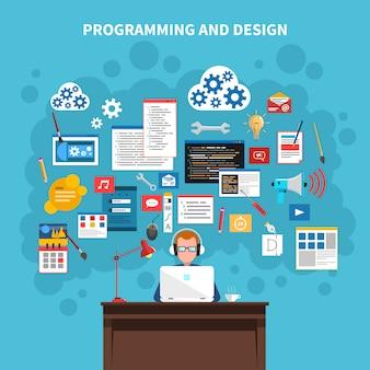 Programowanie ilustracja koncepcja