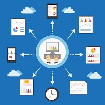 Programowanie internetowe i wykres analityczny w ilustracji wektorowych płaski