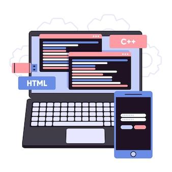 Programowanie kodów podczas tworzenia aplikacji na laptopa