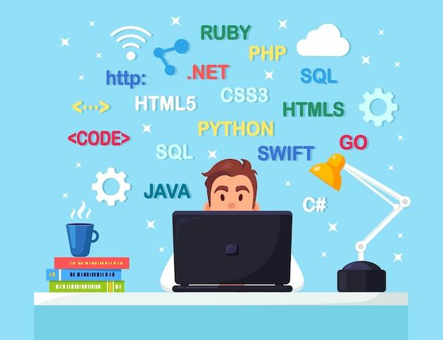 Programowanie, kodowanie programista siedzący przy biurku i roboczy stół biurowy z dokumentami na laptopie