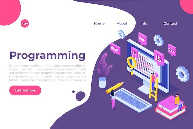 Programowanie koncepcja izometryczna tworzenia oprogramowania lub aplikacji, przetwarzanie dużych zbiorów danych. ilustracja