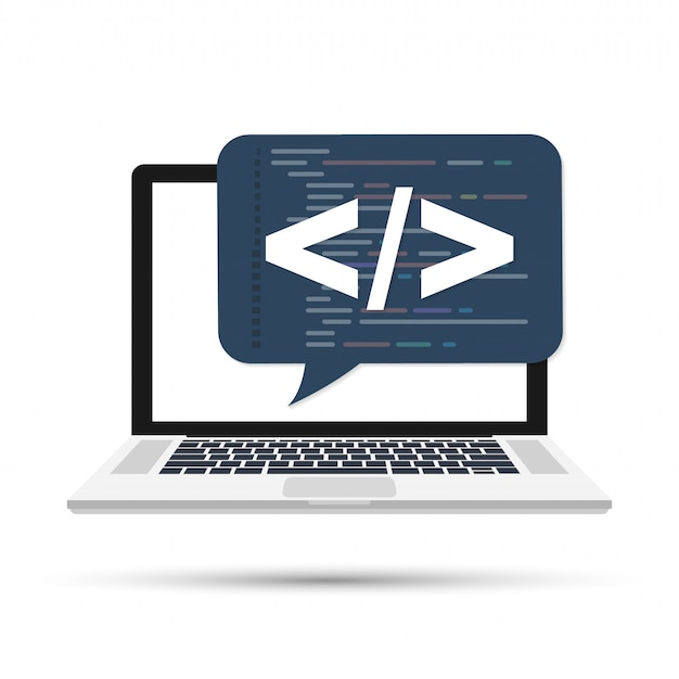 Programowanie, koncepcja tworzenia stron internetowych. kod na ekranie laptopa