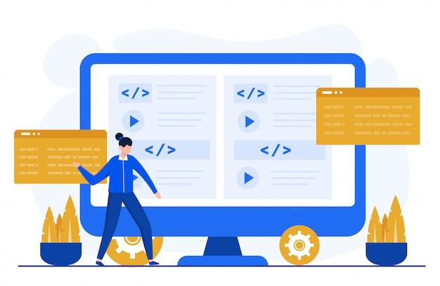 Programowanie lub kodowanie ilustracja koncepcja szablonu strony docelowej