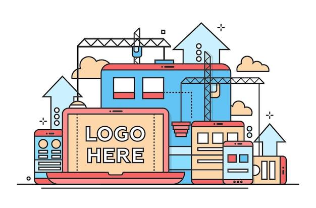 Programowanie narzędzi - ilustracja wektorowa nowoczesny projekt płaski z copyspace dla twojego logo. laptop, urządzenia mobilne, strona internetowa, proces budowy