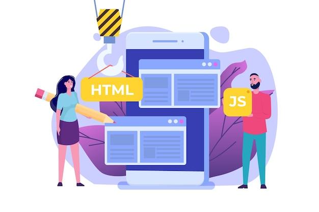 Programowanie oprogramowanie lub aplikacja, koncepcja rozwoju sieci i front-endu.