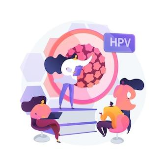 Programy edukacyjne hpv abstrakcyjne pojęcie ilustracji wektorowych. programy uświadamiające na temat hpv, wyjaśnienia dotyczące wirusa brodawczaka ludzkiego, edukacja zdrowotna, konsultacje online, abstrakcyjna metafora informacji o wirusach.