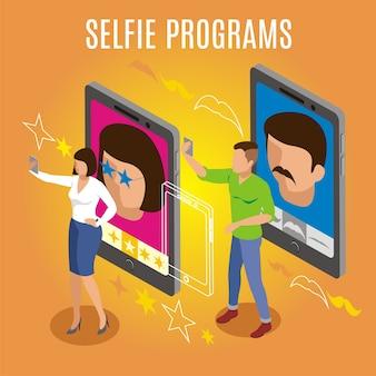 Programy i filtry do zdjęć selfie, izometryczne pomarańczowe tło z gadżetami, osoby wykonujące autoportret