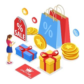 Programy lojalnościowe w ramach marketingu zwrotów klientów. pudełko upominkowe, nagroda, zwroty, odsetki, punkty, premie. dziewczyna wybiera prezenty na premie z programu lojalnościowego. izometryczny