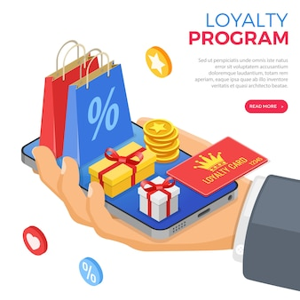 Programy lojalnościowe w ramach marketingu zwrotów klientów. pudełko upominkowe, zwroty, odsetki, punkty, premie. ręka ze smartfonem daje prezenty na premie z programu lojalnościowego. izometryczny