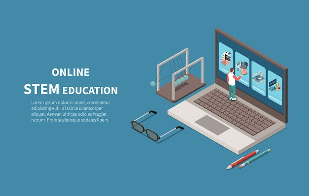 Programy magisterskie online w zakresie edukacji stem uczą studentów kreatywności umiejętności rozwiązywania problemów izometryczną ilustrację za pomocą laptopa
