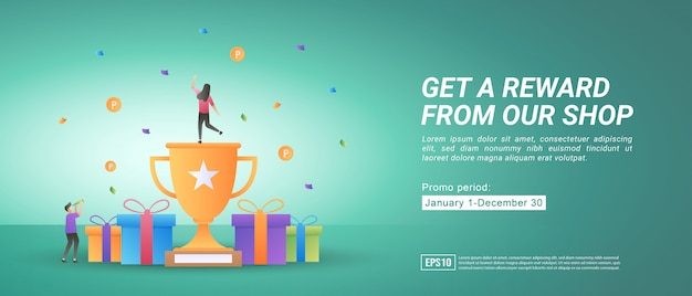 Programy premiowe i promocyjne. zdobywaj nagrody, robiąc zakupy online. prezenty dla stałych klientów.