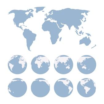 Projekcja mapy świata pokazująca powierzchnię ziemi i globusów