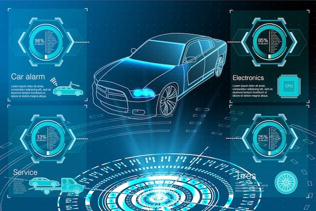 Projekcja samochodu. hud ui. streszczenie wirtualny graficzny interfejs użytkownika dotykowy.