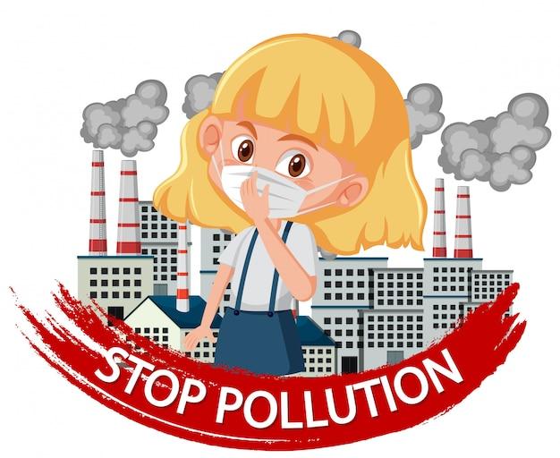 Projekt, aby zatrzymać zanieczyszczenie z dziewczyną noszącą maskę