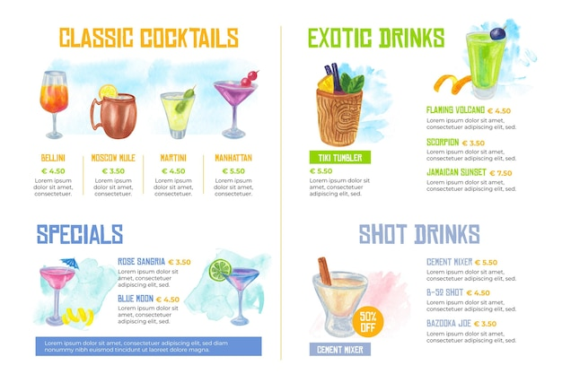 Projekt akwarela menu koktajlu