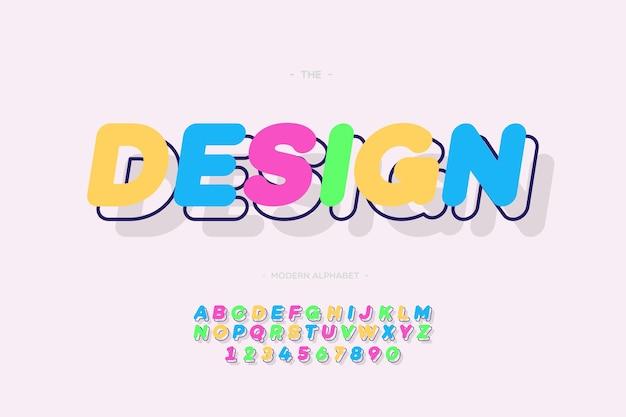 Projekt alfabetu 3d pogrubiony skośny styl nowoczesna typografia do dekoracji