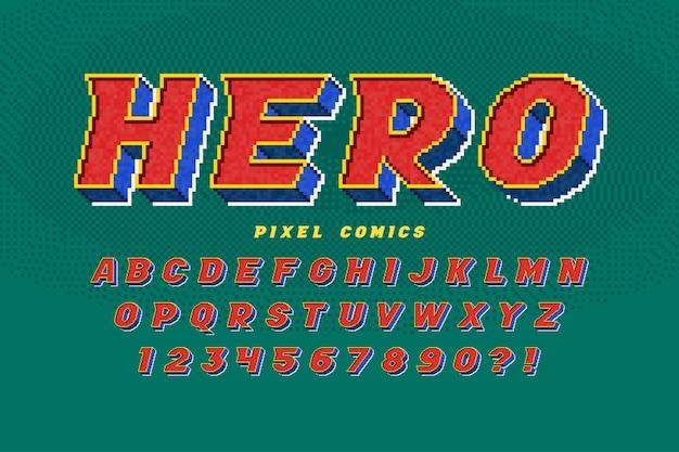 Projekt alfabetu pikseli, stylizowany jak w grach 8-bitowych. wysoki kontrast, retro-futurystyczny.