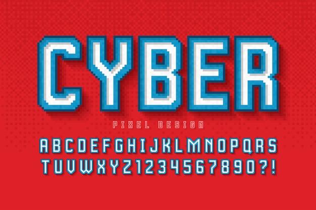 Projekt alfabetu pikseli, stylizowany jak w grach 8-bitowych.