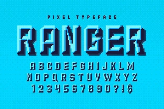 Projekt alfabetu pikseli, stylizowany na 8-bitowy styl gry