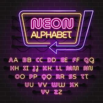 Projekt alfabetu w stylu neonowym