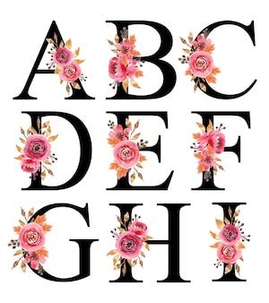 Projekt alfabetu z ręcznie malowanymi akwarelami kwiatowymi burgund a-i szablon do edycji