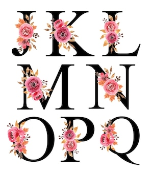 Projekt alfabetu z ręcznie malowanymi akwarelami kwiatowymi burgundy j - q szablon do edycji