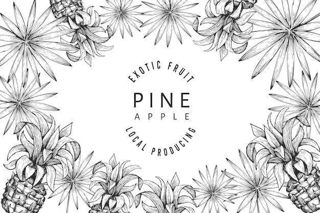 Projekt ananasa i liści tropikalnych