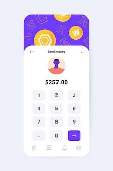 Projekt aplikacji kryptowaluty wirtualna aplikacja do przesyłania pieniędzy na ekranie smartfona transakcja bankowa koncepcja waluty cyfrowej pionowa ilustracja wektorowa