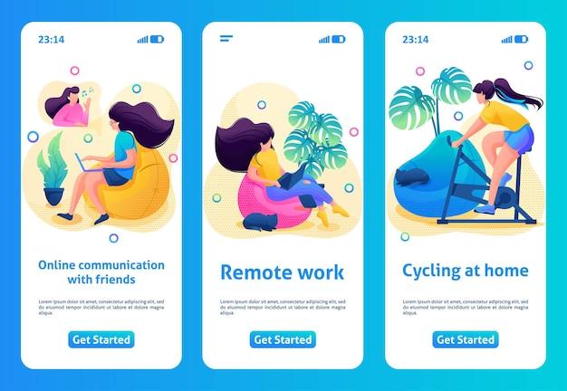 Projekt aplikacji mobilnej, szablon. postać 2d zostaje w domu, poddana kwarantannie. dziewczyna uprawia sport, pracuje online.