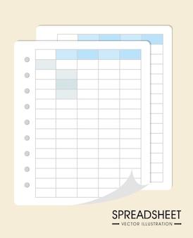 Projekt arkusza kalkulacyjnego, ilustracji wektorowych.