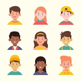 Projekt awatara dla różnych młodych ludzi