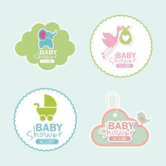 Projekt baby shower nad ilustracji wektorowych tle