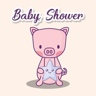 Projekt baby shower z cute wieprzowych gospodarstwa gwiazda