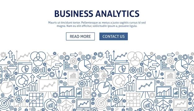 Projekt banera analizy biznesowej. ilustracja wektorowa koncepcji sieci web linii.