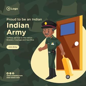 Projekt banera dumny z bycia indyjskim stylem kreskówki armii