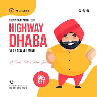 Projekt banera ekologicznej i zdrowej żywności na szablonie autostrady dhaba