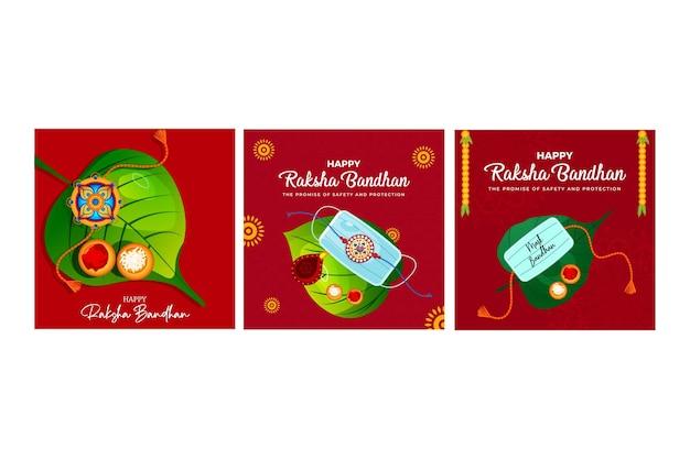 Projekt banera indyjskiego festiwalu szczęśliwy raksha bandhan zestaw szablonu