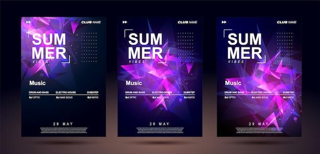 Projekt banera klubu. szablony plakatów muzycznych dla basowej muzyki elektronicznej