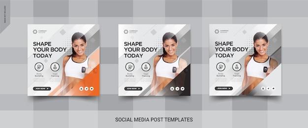 Projekt banera kwadratowego mediów społecznościowych fitness