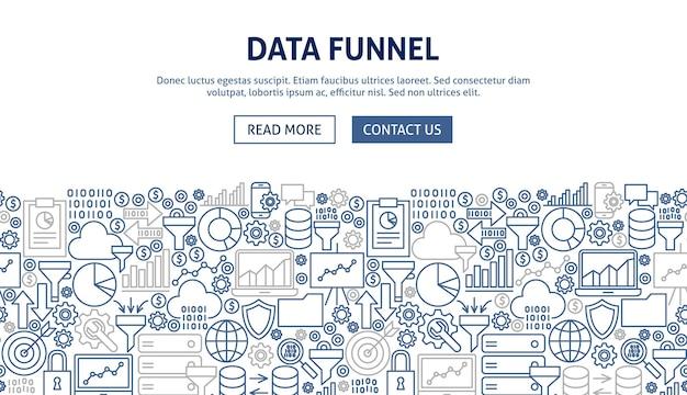 Projekt banera lejka danych. ilustracja wektorowa koncepcji sieci web linii.